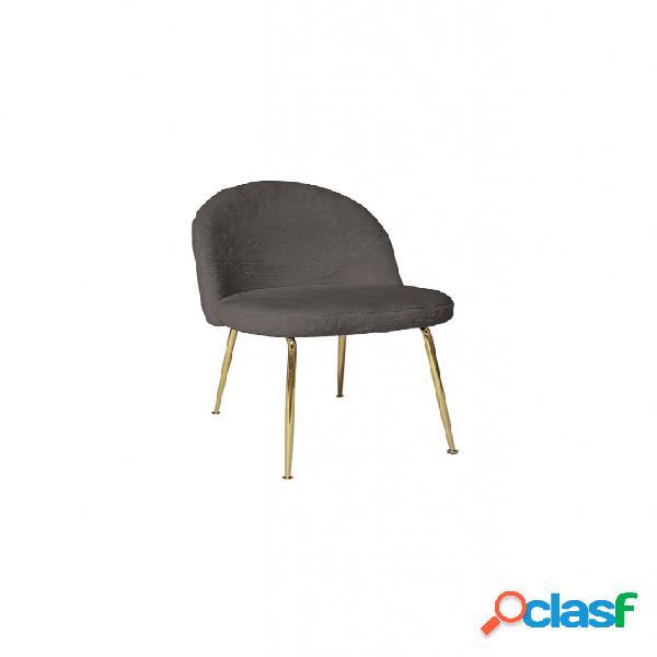 Set sedie montmartre tessuto grigio con gambe in ottone