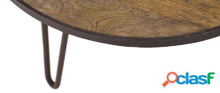 Tavolino rotondo design industriale 80x45cm atelier