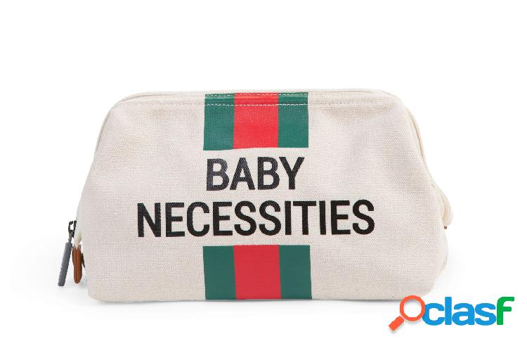 Borsa da toilette childhome baby necessities bianco strisce verde/rosso