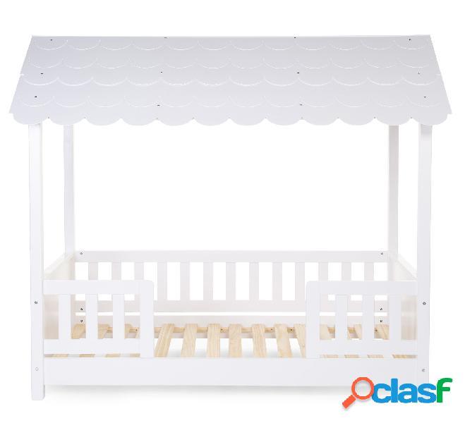 Struttura letto childhome con tetto + 2 sponde 70x140 cm legno bianco