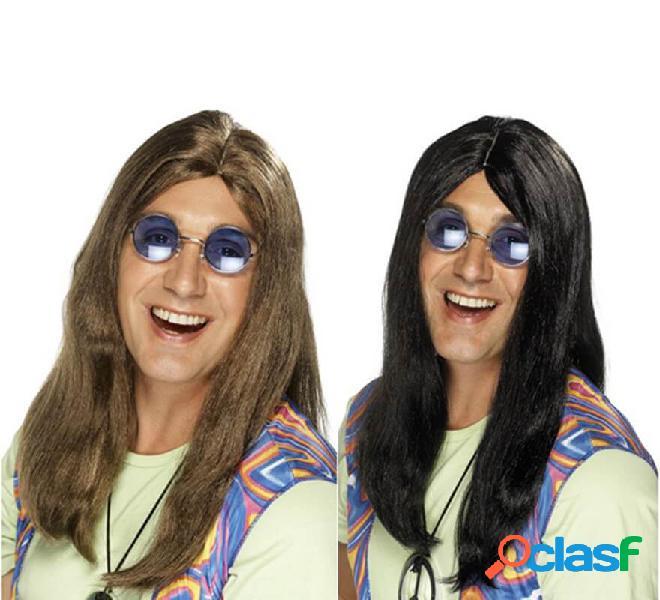Lunga parrucca hippy con riga centrale per uomo in vari colori