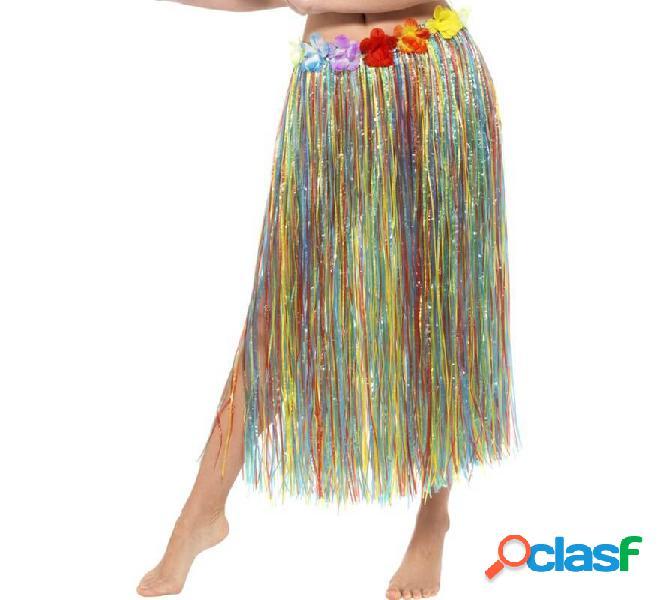 Gonna lunga hawaiana con fiori multicolor