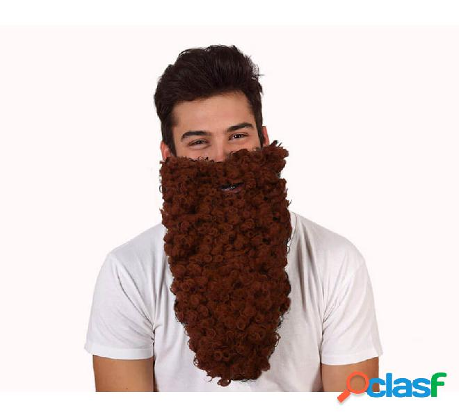 Lunga barba riccia marrone mago