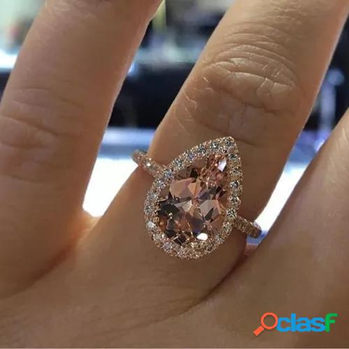 14k rose gold natural morganite and diamond halo ring pear shape art deco antique engagement ring birthstone rings for women promise rings for women white gold size4 5 6 7 8 9 10 11