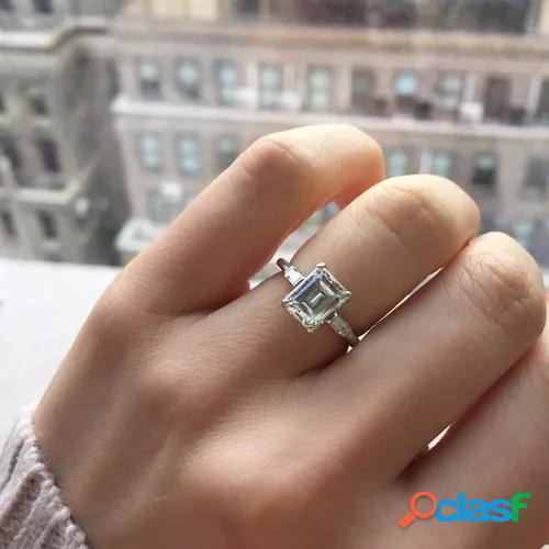 Gorgeous 925 sterling silver natural white sapphire and diamond ring art deco antique engagement ring birthstone rings for women promise rings for women white gold size 5 6 7 8 9 10 11