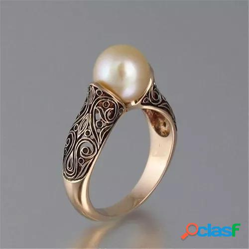 Vintage 925 sterling silver rose gold sculpted pearl diamond ring bride wedding engagement jewelry