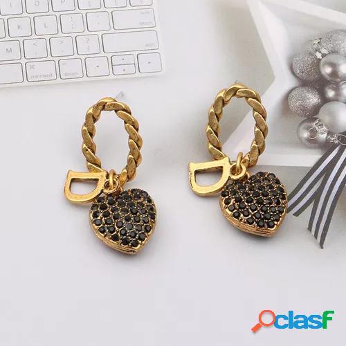 Ehicom fashion antique gold retro old letter d full diamond love earrings temperament versatile light luxury ear accessories