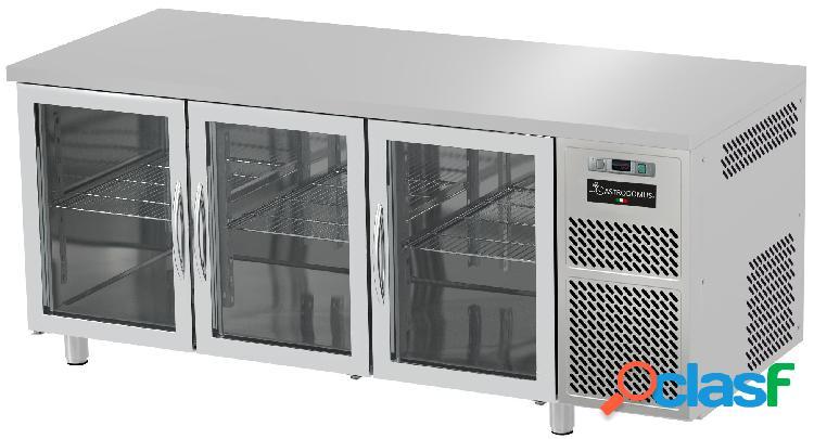 Tavolo refrigerato prof. 600 mm 3 porte in vetro 0°c/+10°c piano in inox