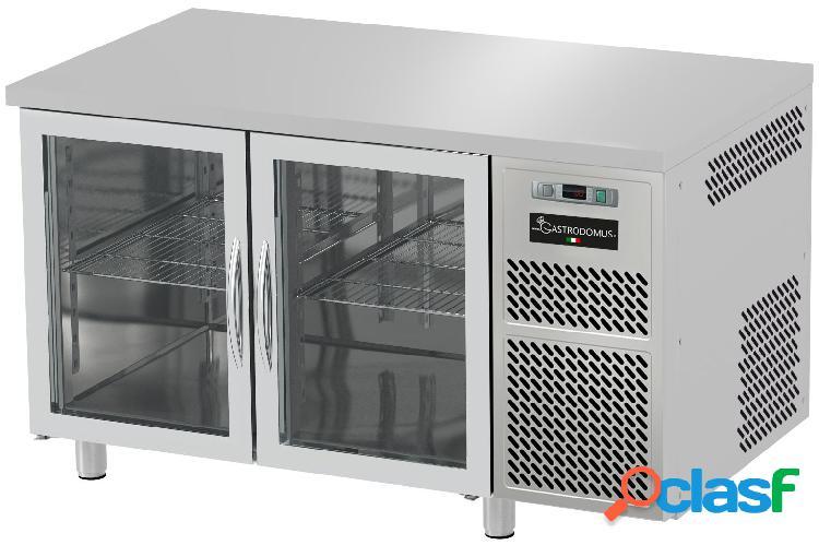 Tavolo refrigerato prof. 600 mm 2 porte in vetro 0°c/+10°c piano in inox
