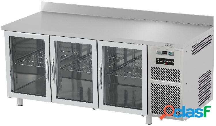 Tavolo refrigerato prof. 600 mm alzatina 3 porte in vetro 0°c/+10°c piano in inox