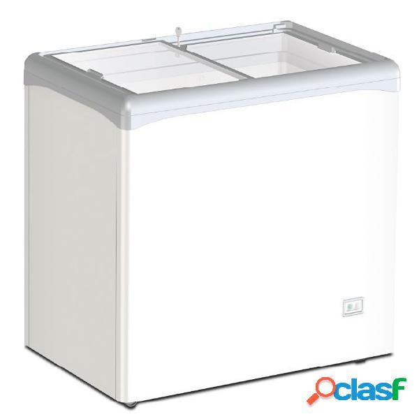 Congelatore a pozzetto statico per gelato 208 lt porta vetro -25°c/-18°c
