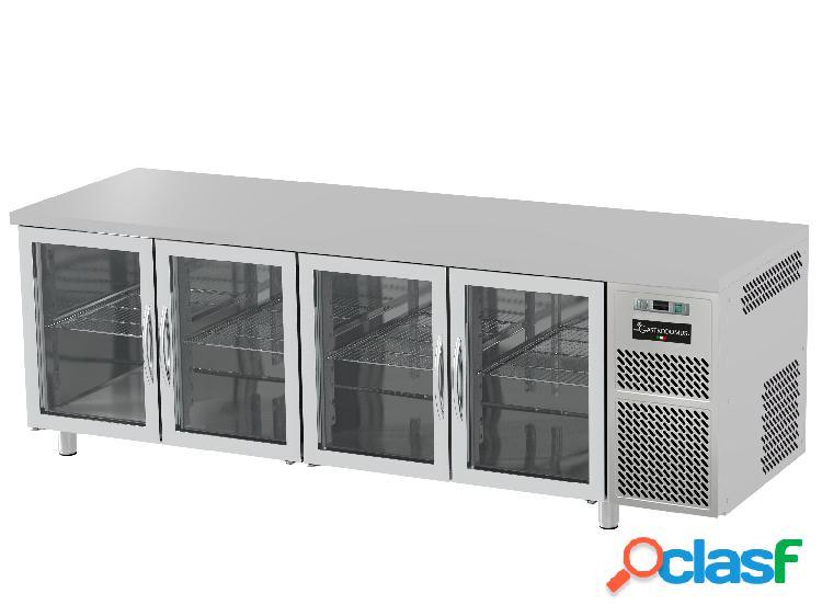 Tavolo refrigerato prof. 600 mm 4 porte in vetro 0°c/+10°c piano in inox