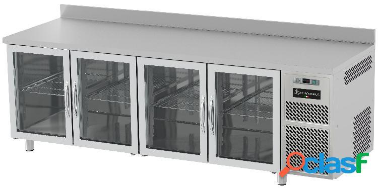 Tavolo refrigerato prof. 600 mm alzatina 4 porte in vetro 0°c/+10°c piano in inox