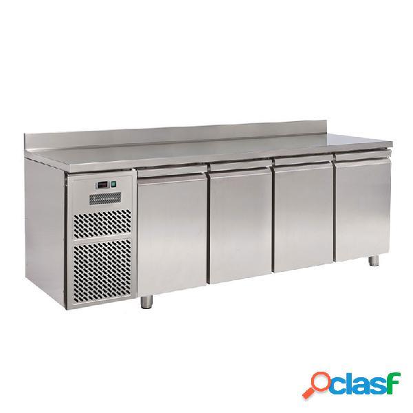 Tavolo refrigerato motore a sinistra 4 porte alzatina prof. 600 mm 0°c/+10°c classe energetica d
