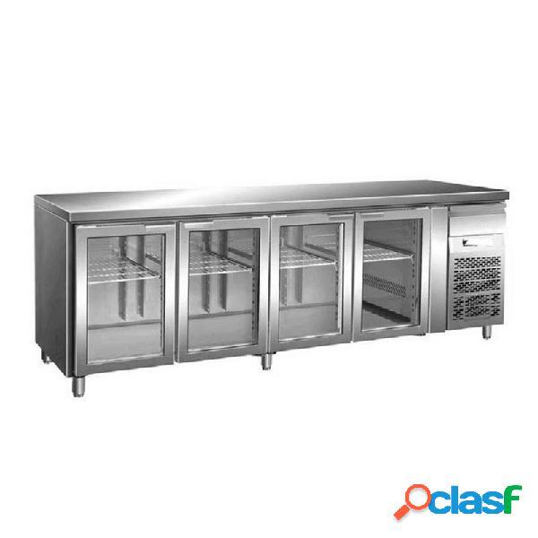 Tavolo refrigerato ventilato, prof. 700 con 4 porte in vetro, temperatura +2°c/+8°c