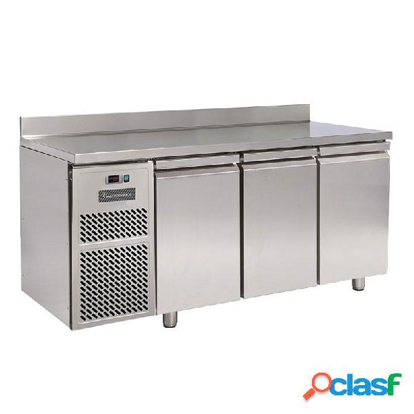 Tavolo refrigerato motore a sinistra 3 porte alzatina prof. 600 mm 0°c/+10°c classe energetica d