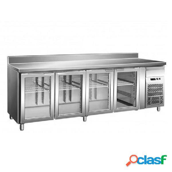 Tavolo refrigerato ventilato, prof. 700 con 4 porte in vetro e alzatina, temperatura +2°c/+8°c