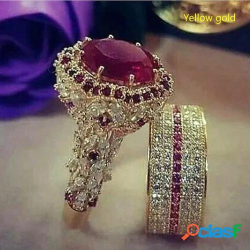 2pcs/set elegant beautiful woman fashion antique art deco jewelry exquisite 18k gold natural red ruby gem diamond ring set noble bride engagement wedding luxury jewelry girlfriend valentine's