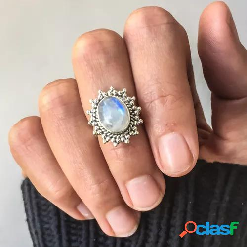 Bohemian antique women jewelry 18k white gold solitaire natural moonstone gemstone rings vintage fashion wedding promise ring