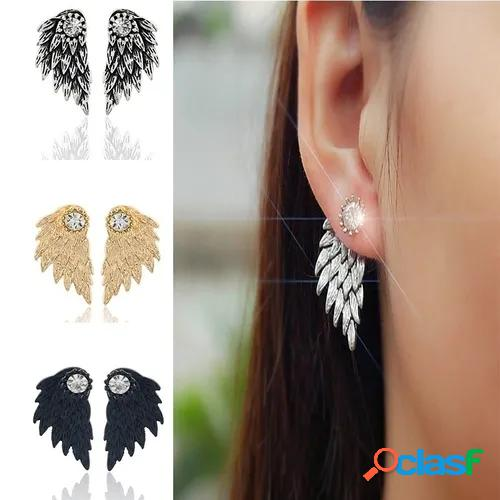 Vintage gothic angel wing diamond feather stud earrings piercing rhinestone ear studs fashion women's jewelry, gifts for loved ones (color: gold, silver, antique silver, black)