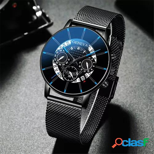 Black watch mens luxury stainless steel mesh strap calendar quartz watches casual mens sport wrist watch clock waterproof 2020