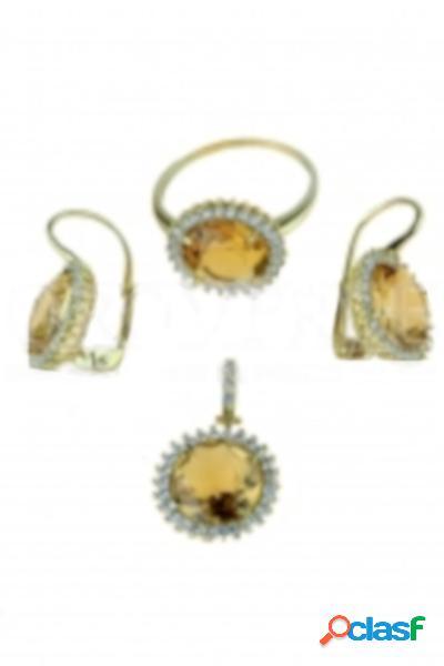 Parure orecchini, ciondolo ed anello con pietra tonda marrone mod. p2899g