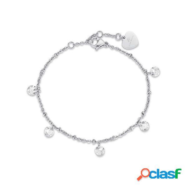 Bracciale in acciaio con cristalli bianchi