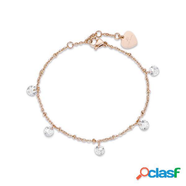Bracciale in acciaio ip rose con cristalli bianchi