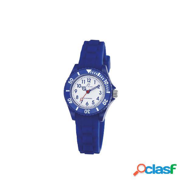 Orologio da bambino in silicone blu quadrante bianco