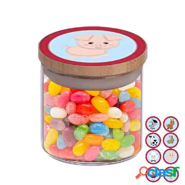 Barattolini animali fattoria con caramelle - 10 pz
