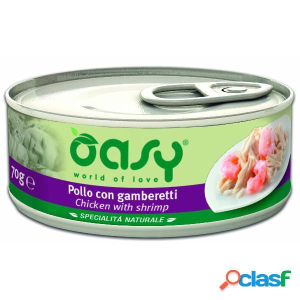 Cibo umido per gatto oasy al pollo con gamberetti 150 gr.