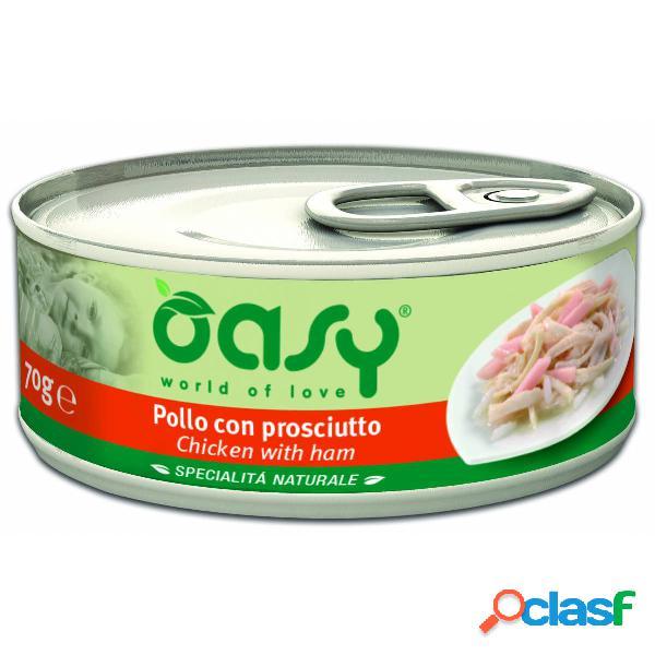 Cibo umido per gatto oasy al pollo con prosciutto 150 gr.
